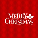 Merry Christmas typographic design poster and holly  on red argyle pattern. Retro style, flat design vector Royalty Free Stock Photos