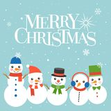 Merry christmas typographic design poster with snowman character stock illustration