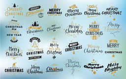 Merry Christmas typographic emblems set. Merry Christmas and Happy New Year 2017 typographic emblems set. logo, text design. Usable for banners, greeting cards Stock Photos