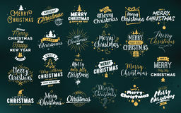 Merry Christmas typographic emblems set. Merry Christmas and Happy New Year 2017 typographic emblems set. logo, text design. Usable for banners, greeting cards Royalty Free Stock Photo