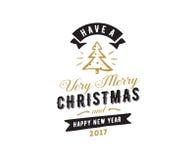 Merry Christmas typographic emblems set. Stock Photos