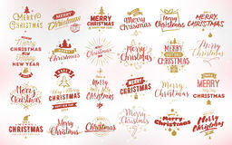Merry Christmas typographic emblems set. Merry Christmas and Happy New Year 2017 typographic emblems set. Vector logo, text design. Usable for banners, greeting Stock Photo