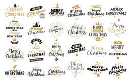 Merry Christmas typographic emblems set. Merry Christmas and Happy New Year 2017 typographic emblems set. Vector logo, text design. Usable for banners, greeting Royalty Free Stock Photos