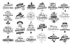 Merry Christmas typographic emblems set. Royalty Free Stock Images