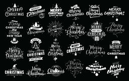 Merry Christmas typographic emblems set. Merry Christmas and Happy New Year 2017 typographic emblems set. Vector logo, text design. Usable for banners, greeting Royalty Free Stock Photo