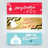 Merry Christmas typographic emblems set. Xmas  logo, emblems, elements, icons and text design. Calligraphic Lettering design card template Royalty Free Stock Images