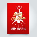 Merry Christmas typographic emblems set. Xmas  logo, emblems, elements, icons and text design. Calligraphic Lettering design card template Stock Photos