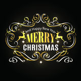 Merry Christmas typographic label. Royalty Free Stock Image