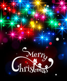 Merry Christmas typographical background with. Shining blurred bokeh lights and glowing colorful stars. Vector illustration Stock Illustration