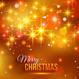 Merry Christmas typographical background. With shining blurred bokeh lights and glowing golden stars. Vector illustration Royalty Free Stock Photography