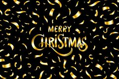 Merry Christmas typographical on black background with Gold glitter texture. Vector illustration for golden shimmer background. Xm Royalty Free Stock Images