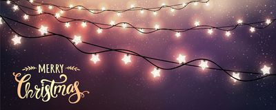 Free Merry Christmas Typographical On Dark Background With Xmas Decorations Glowing White Garlands, Light, Stars. Royalty Free Stock Image - 133918956