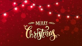 Free Merry Christmas Typographical On Red Background With Xmas Decorations Glowing White Garlands, Light, Stars. Royalty Free Stock Image - 132890126