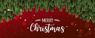 Merry Christmas Typographical on red background with tree branches decorated with stars, lights, snowflakes. stock illustration