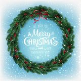 Merry Christmas Typographical on snow background with Christmas wreath of tree branches, berries, lights, snowflakes. stock illustration