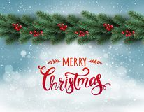 Merry Christmas Typographical on snowy background with garland of tree branches decorated with berries, bokeh, snowflakes. Xmas theme. Vector Illustration royalty free illustration