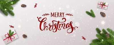 Merry Christmas Typographical on white background with tree branches, berries, gift boxes, stars, pine cones. Xmas and New Year. Theme. Vector Illustration vector illustration