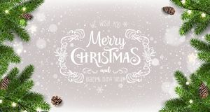 Merry Christmas Typographical on white background with tree branches, gift boxes, stars, pine cones, snowflakes. Xmas and New Year. Theme. Vector Illustration royalty free illustration