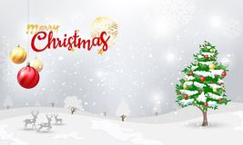 Merry Christmas typographical and Xmas ornaments with winter snow, snowflakes, light background. stock illustration