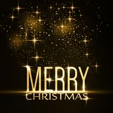 Merry Christmas typography background with gold glitter, sparkli Stock Images