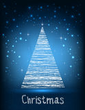 Merry Christmas typography on blue galaxy background with fir and light, stars, snowflakes.  Royalty Free Stock Image