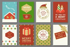 Merry Christmas typography and elements such as greeting card royalty free illustration