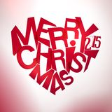 Merry christmas typography at heart shape Stock Image