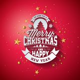 Merry Christmas Typography Illustration with 3d Holiday Element and Long Shadow on Shiny Red Background. Vector Design Royalty Free Stock Photography