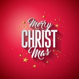 Merry Christmas Typography Illustration with 3d Holiday Element and Long Shadow on Shiny Red Background. Vector Design Stock Photography