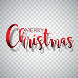 Merry Christmas Typography illustration on a transparent background. Vector logo, emblems, text design for greeting. Cards, banner, gifts, poster Royalty Free Stock Photography