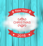 Merry Christmas Typography Lettering Design. Illustration Merry Christmas Typography Lettering Design on Blue Wooden Texture - Vector royalty free illustration
