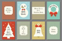 Merry Christmas typography on retro frame and elements for holidays Stock Images