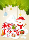 Merry christmas typography and snowman Stock Photo