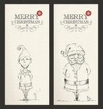 Merry Christmas unique hand drawn banner set Stock Image