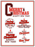 Merry Christmas Varsity. Merry Christmas and Happy New Year Varsity Lettering Royalty Free Stock Photos