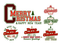 Merry Christmas Varsity. Merry Christmas and Happy New Year Varsity Lettering Colorful Royalty Free Stock Photography