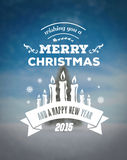 Merry christmas vector against blurry snow scene Royalty Free Stock Photo