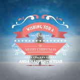 Merry christmas vector against snowy scene Royalty Free Stock Photography