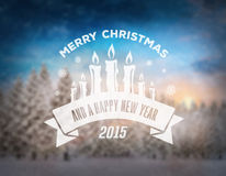 Merry christmas vector against snowy scene Royalty Free Stock Photo