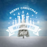 Merry christmas vector against snowy scene Royalty Free Stock Photos