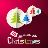 Merry Christmas Vector Background with Paper Trees Stock Photos