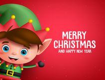 Merry christmas vector background template with boy elf character. Showing a space for text in red background. Vector illustration royalty free illustration