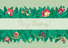 Merry Christmas!. Vector christmas background with text Merry Christmas   and  christmas fir tree branches with Christmas decorations Royalty Free Stock Photo
