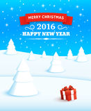 Merry Christmas Vector Background. Winter Landscape. 2016 Happy new year. Red gift box with bow and ribbon at white snow. Background with typography elements for Stock Photography