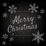 Merry Christmas vector banner with silver glittering text, snowflakes, lights, sparkles. Merry Christmas vector banner with silver glittering snowflakes, lights Stock Photography