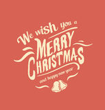 Merry christmas vector with bells Stock Photography