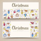 Merry Christmas vector brochure cards set. birth of Christ template of flyear, magazines, posters, book cover, banners. Merry Christmas  vector brochure cards royalty free illustration