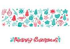 Merry Christmas vector calligraphy lettering text. Xmas scandinavian greeting card. Hand drawn illustration of a cute vector illustration