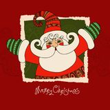 Merry Christmas vector card with Santa Claus and hand drawn `Merry Christmas` lettering. Vector illustration. EPS 10. Merry Christmas vector card with Santa Stock Photos