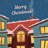 Merry Christmas vector card in subdued retro colors. Winter town and snowfall. Merry Christmas card in subdued retro colors. Winter town and snowfall. Vector Stock Image